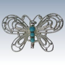 Gerry's Silver tone Faux Turquoise Butterfly Pin