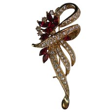 Brilliant Ruby Red Rhinestone Studded Bow Brooch