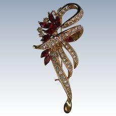 Brilliant Ruby Red Rhinestone Studded Bow Brooch