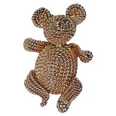 Napier Gold tone Teddy Bear Pin