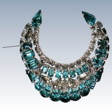 Kramer of New York Blue Rhinestone Crescent Brooch
