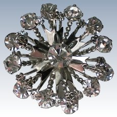 Sparkling Clear Rhinestone Snowflake Pin