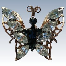 Rhinestone Butterfly Brooch by S.P. LIND
