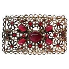 Victorian Sash Pin with Pink Moonstones and Rhinestones