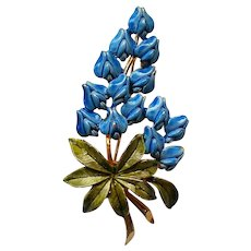 Enameled Texas Blue Bell Flower Bouquet Pin