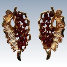 Ruby Red Rhinestone Clip Earrings by BSK