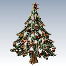 Holly Branch Christmas Tree Pin by JJ