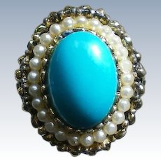 Large Faux Turquoise Statement Ring