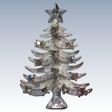 Eisenberg Ice Silver tone AB Rhinestone Christmas Tree Pin
