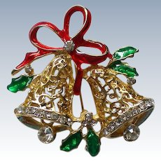 Joyous Bells Christmas Pin with Dangling Rhinestone Clappers