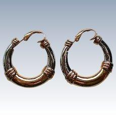 Trifari Gold and Silver tone Metal Hoops