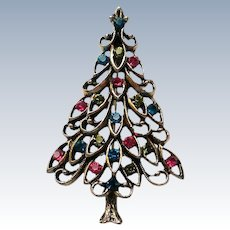 Red and Green Rhinestone Christmas Tree Pin