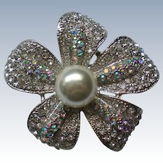 Large Pave Crystal Flower Brooch with Faux Pearl Center