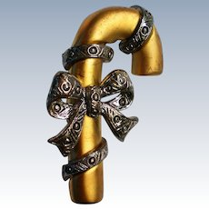 Gold tone Candy Cane Pin with Pewter Ribbon and Bow