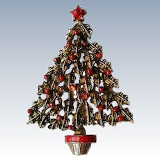 Gold tone Christmas Tree Pin with Holly Berries