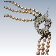 Mid-Century Three Strand Faux Pearl Necklace