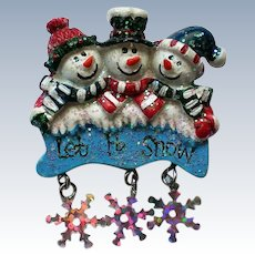 "Three ""Frosty"" Snowmen Pin"