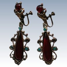 Edwardian Style Dangle Screw Back Earrings