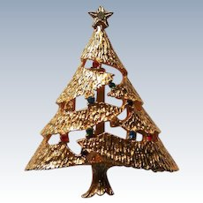 Gold tone Christmas Tree with Rhinestones