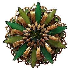 Vintage Multi-Layered Green Floral Rhinestone Brooch