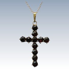 Genuine German Garnet Cross with 14K Gold Chain