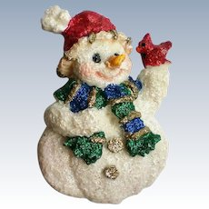 Molded Snowman with Sparkling Scarf and Buttons for Winter