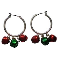 Jingle Bell Hoop Pierced Earrings for Christmas