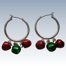Jingle Bell Hoop Pierced Earrings for Christmas