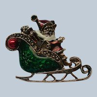 Bright Enameled Santa in Sleigh Pin for Christmas by LIA