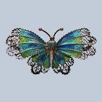 Sterling Silver Filigree Enameled Butterfly marked RJ