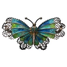 Sterling Silver Filigree Enameled Butterfly marked RJ