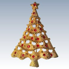 Gold tone Christmas Tree Pin with Red Rhinestones