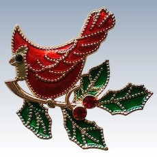 Christmas Cardinal Bird on a  Holly Branch