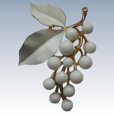 Crown Trifari White Grape Cluster Pin