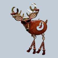 Funky  Santa's Reindeer Pin for Christmas