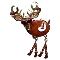 Funky  Santa's Reindeer Pin for Christmas