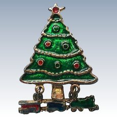 Christmas Tree Pin with Toy Train Dangle