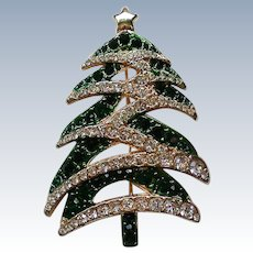 Sparkling Green and Clear Rhinestone Christmas Tree Pin