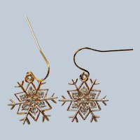 Sparkling Gold tone Snowflake Pierced Earrings for Winter Holidays