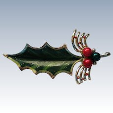 Large Holly and Berry Leaf Pin for Christmas Holidays