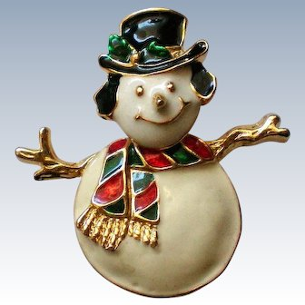Trembler Snowman Pin for the Winter Holidays