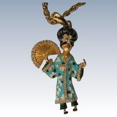 Cinar Asian Geisha Girl Enameled Pendant