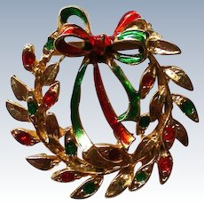 Festive Holiday Christmas Wreath Pin
