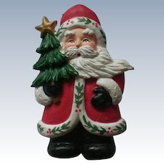 Molded Santa with Christmas Tree Pin for the Holidays