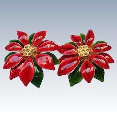 Poinsettia Flower Clip Earrings for the Christmas Holidays