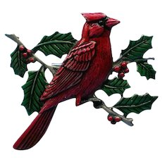 Cardinal Bird Pin by JJ for the Winter Holidays