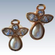 AVON Faux Pearl Rhinestone Angel Pierced Earrings for Holidays