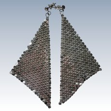 Whiting and Davis Extra Long Pierced Silver Metal Mesh Earrings