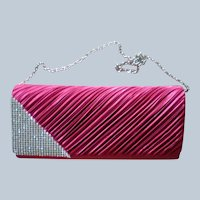 Cranberry Red Rhinestone Clutch Evening Bag for the Holidays