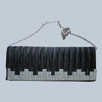 Black Satin Rhinestone Clutch Evening Bag for the Holidays